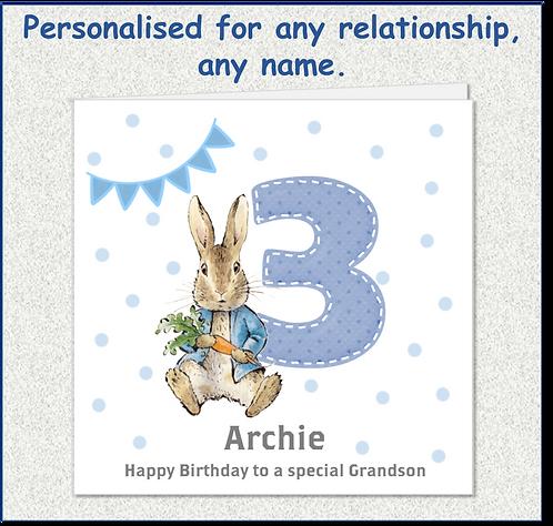 Personalised Peter Rabbit 3rd Birthday Card - Boy
