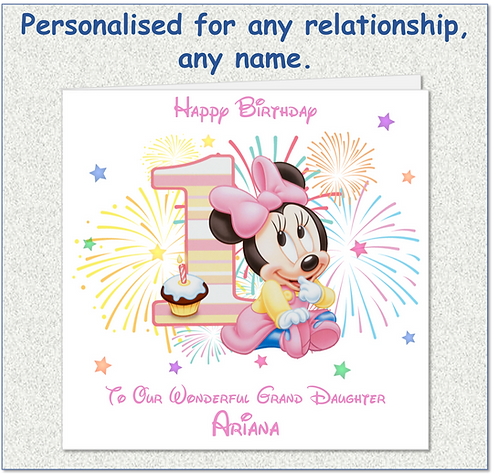 Personalised Minnie Mouse 1st Birthday Card