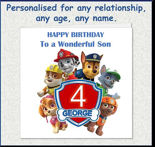 Personalised Child's Birthday Card - Paw Patrol blue