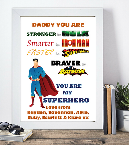 Personalised Daddy Superhero Print