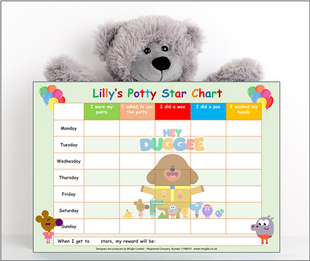 Potty or Toilet Training Reward Chart - Dug