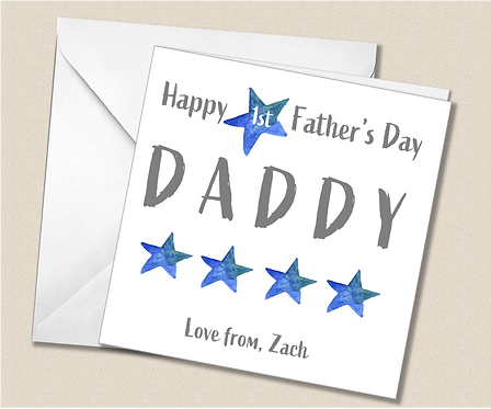 Personalised 1st Father's Day Card - blue stars - FD07