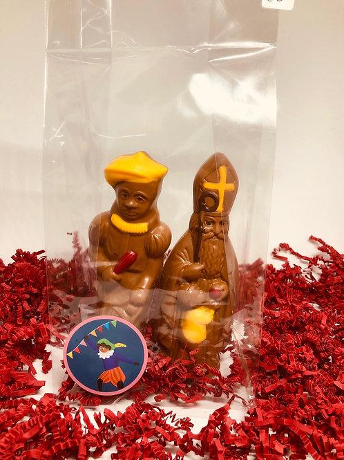 Sint en Piet gekleurd in pakket