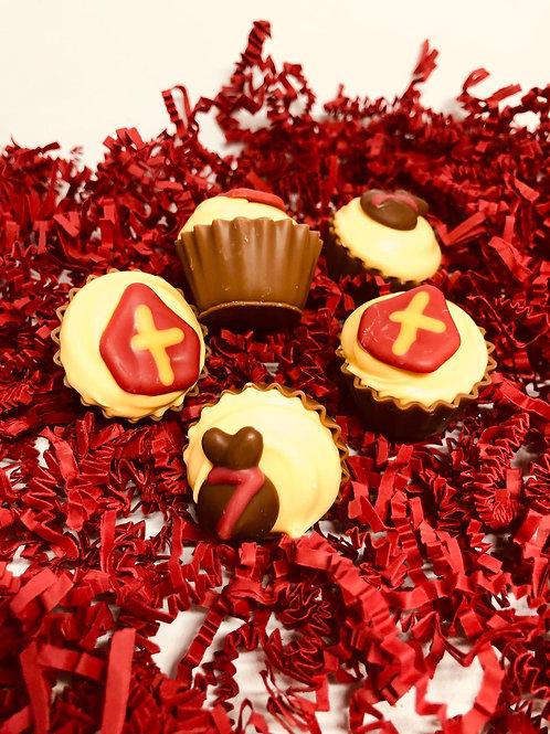 Sint cupcakes met lemon cheesecake en chocolade crème (per 150 gram)