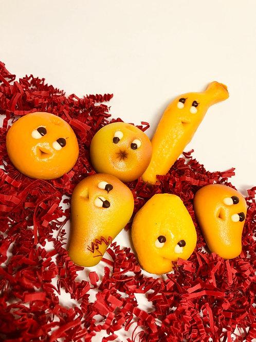 Marsepein fruit met gezichtjes (per stuk)