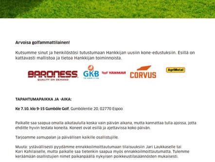 Kutsu Hankkijan kone-esittelyyn Gumböle Golfiin Keskiviikkona 7.10.