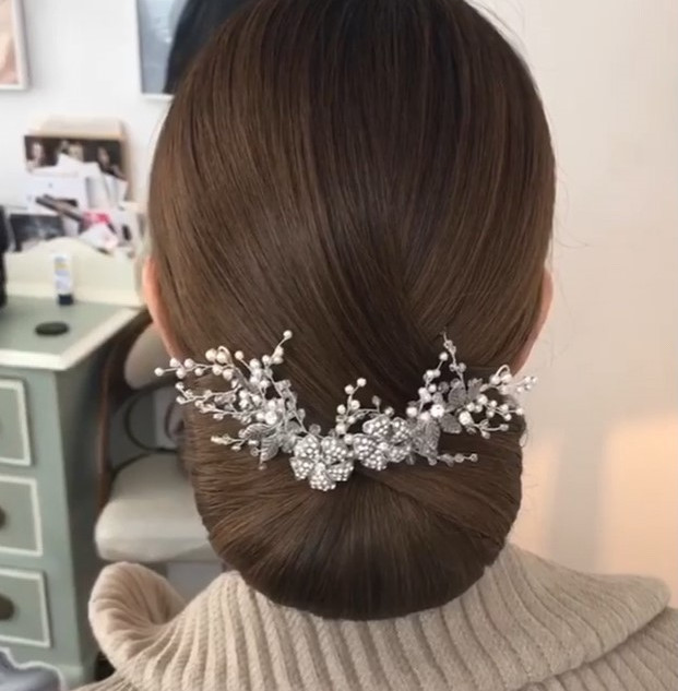 Sleek Wedding Hairstyle | Neat Bridal Hairstyles | Amanda White Hair and Makeup Professionals.