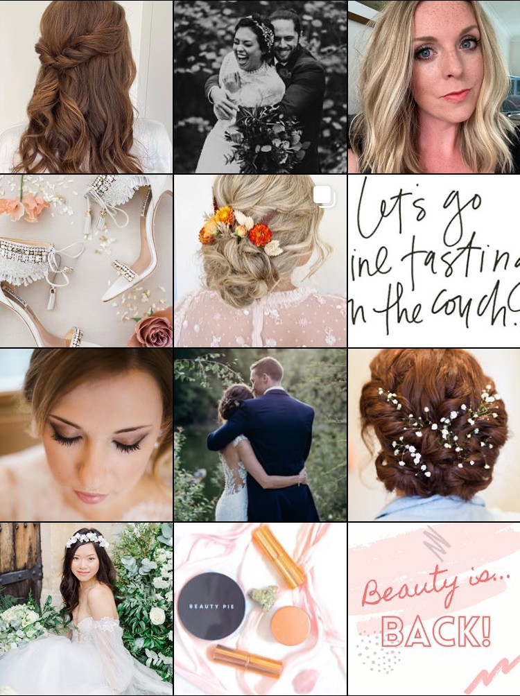 Amanda White's Instagram grid of selection of hair and makeup| Grid layout for social media.