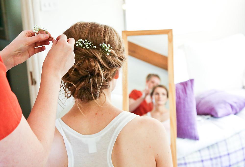 Boho wedding hair ideas | Boho hair up for brides | Small flowers in hair.