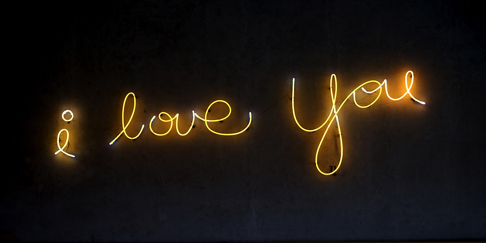 I love you spelled in neon lights