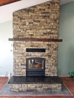 Stone Fireplace & Mantle