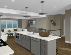 kitchen with microwave and single basin.