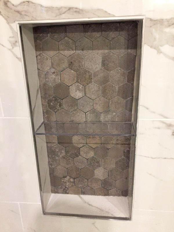 tiled shower niche