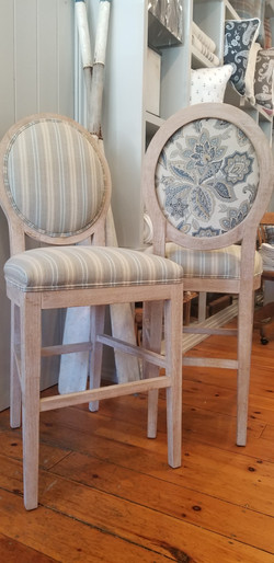 Counter Height Striped with Floral Back