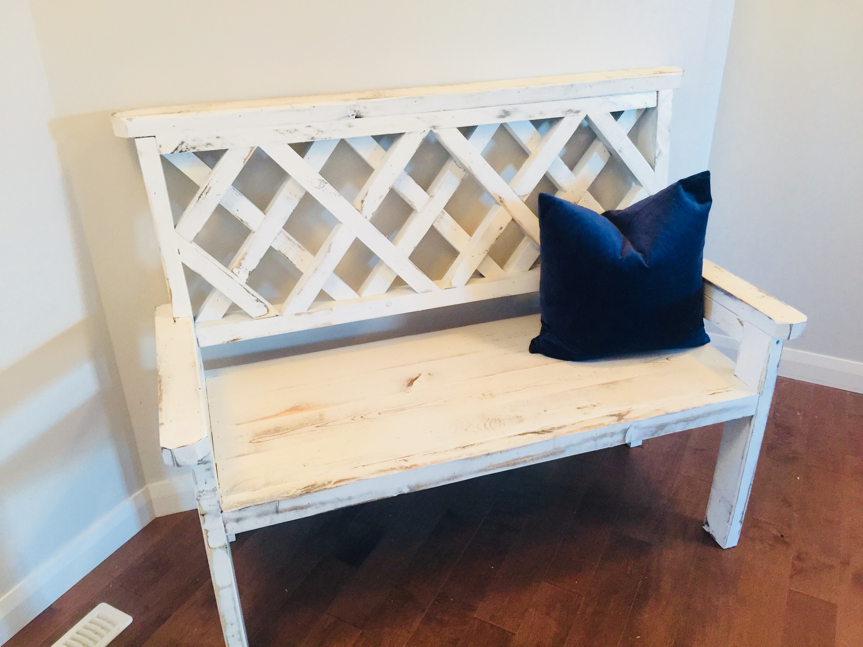 Rustic White Bench