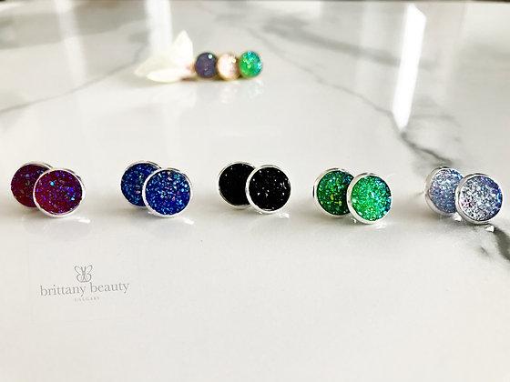 Druzy earrings - silver