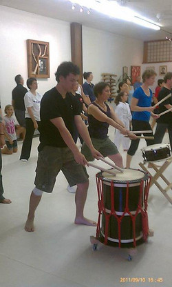 Taiko class on a Saturday.