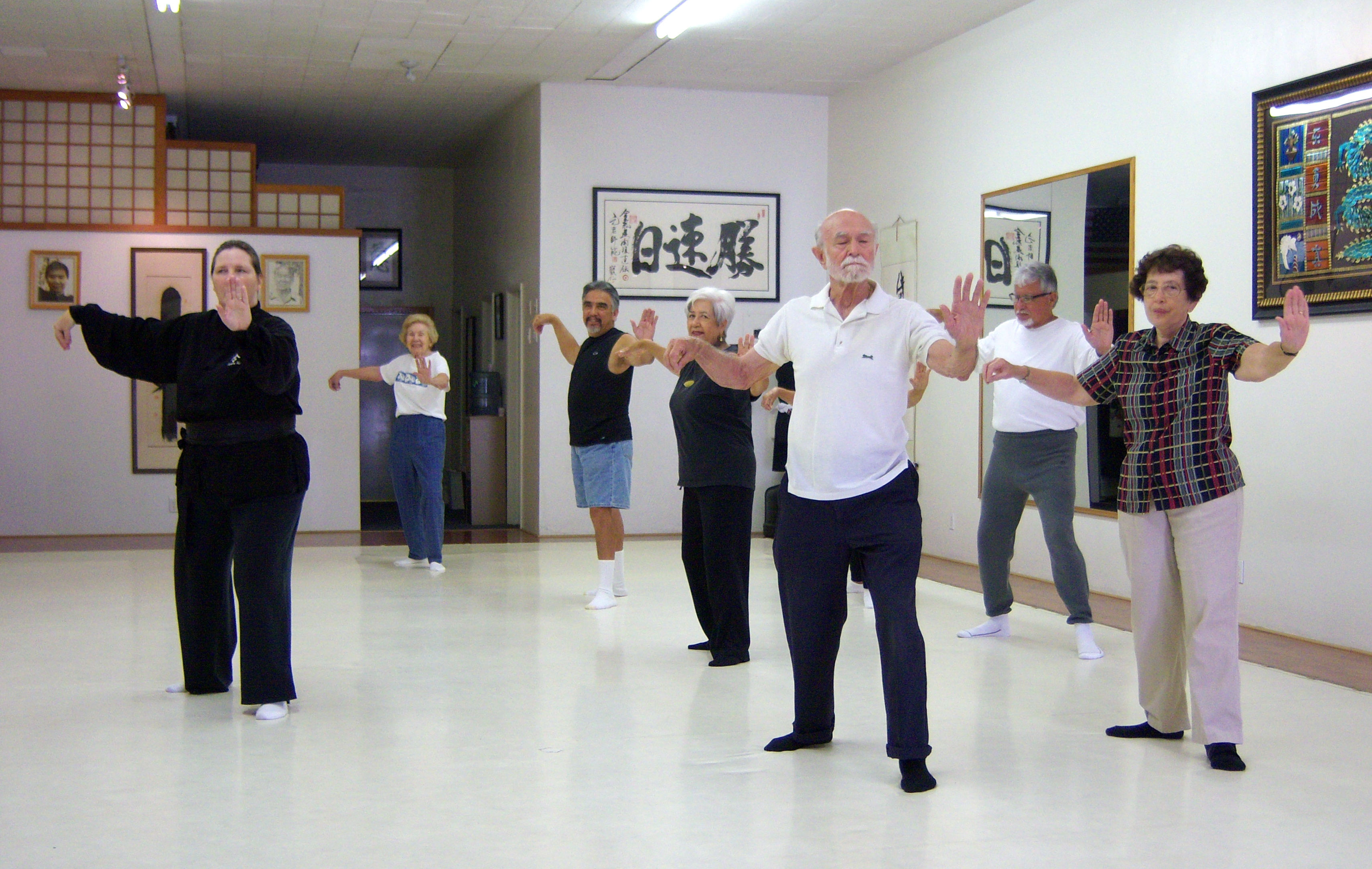 Seniors morning tai chi class.