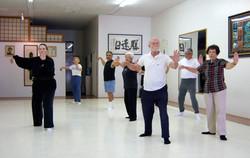 Seniors morning tai chi class.