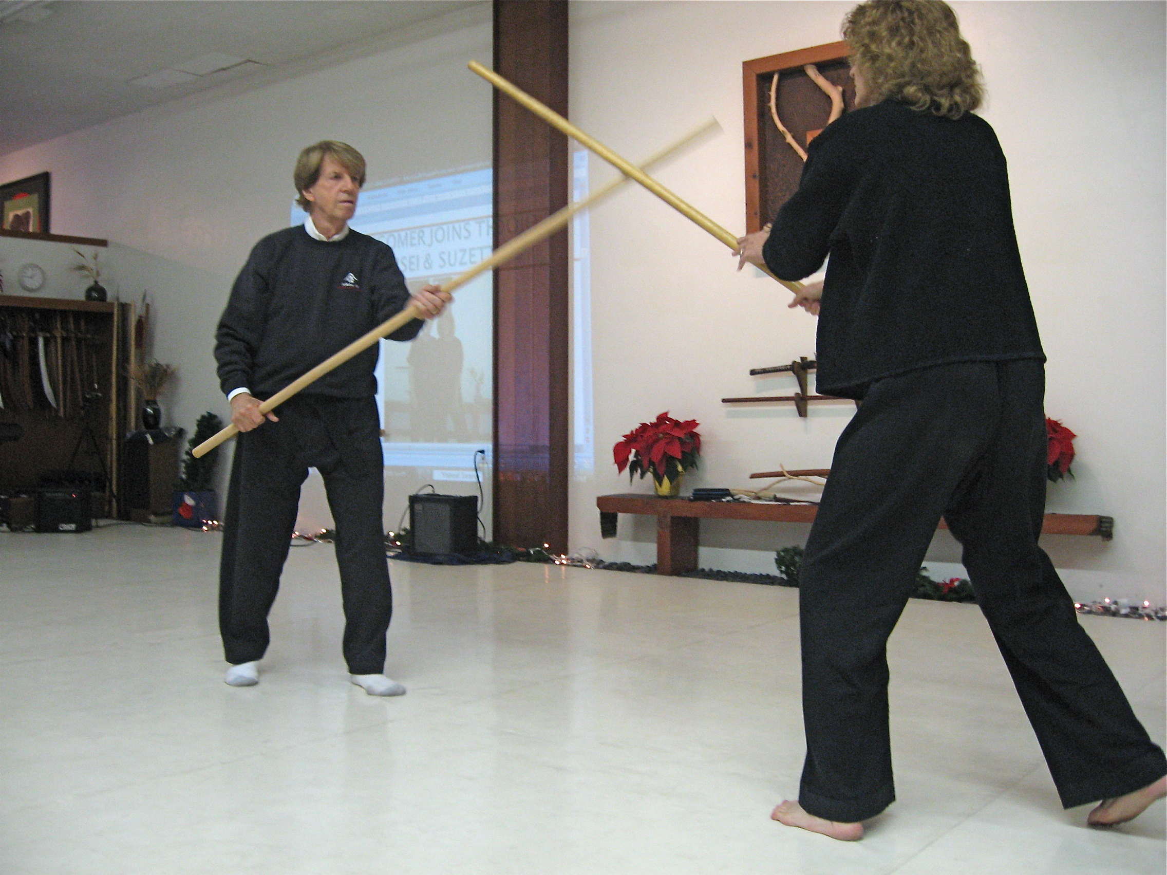 Long staff demonstration.