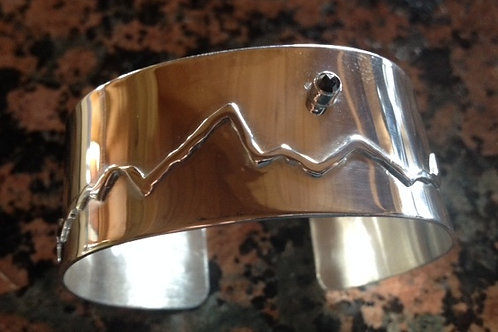 Sterling Silver Teton Bracelet with Black Diamond