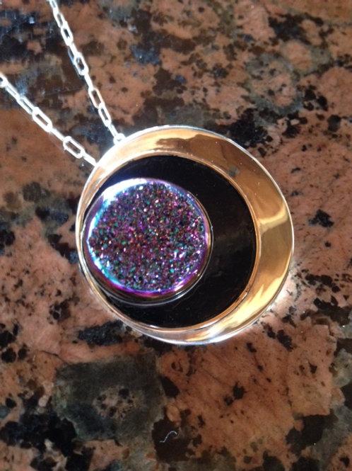 Eclipse Necklace with Rainbow Druzy Stone