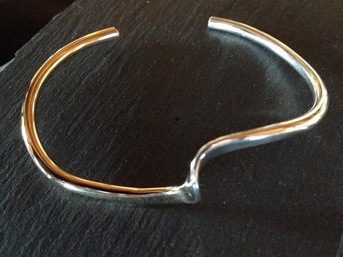 Wave Bracelet, half sterling silver and half 14K Gold-filled