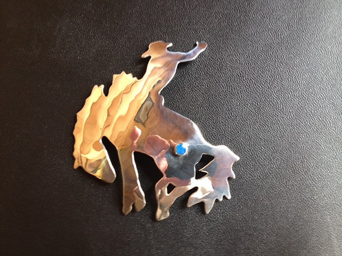 Sterling Silver Cow Pony with Turquoise