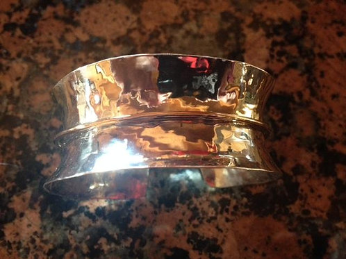 Hammered Sterling Silver cuff with 14K gold-filled wire