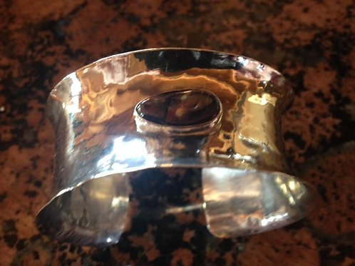 Hammered Sterling SilverCuff with Mexican Opal