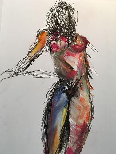 Nackte Frasu mit bunter Kreide gezeichnet