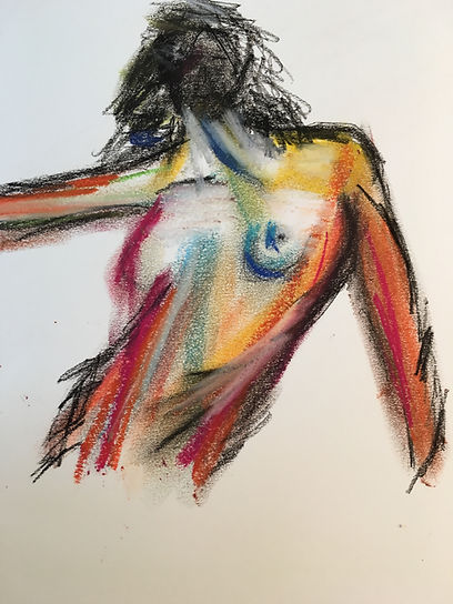 nakter Frauenoberkörper mit Kreide gezeichnet