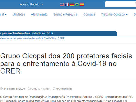 Cicopal doa 200 protetores faciais para o CRER e ganha destaque em matéria do Agir Saúde.