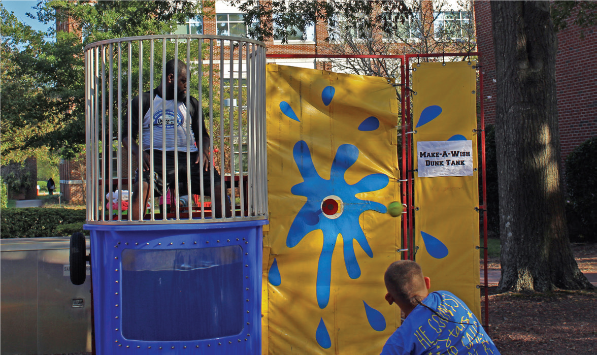 The dunking booth was a big hit...