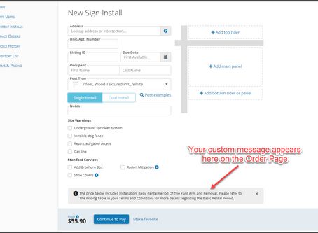 Customize Your New Order Message