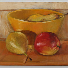 Yellow bowl and fruit