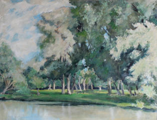 Poplars and Willows, Paradise Reach, River Cam, Cambridge