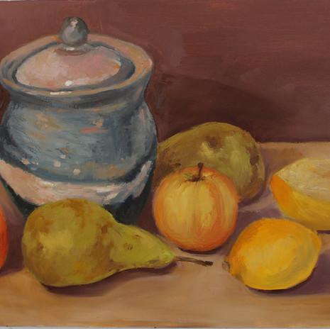 Ginger jar and fruit