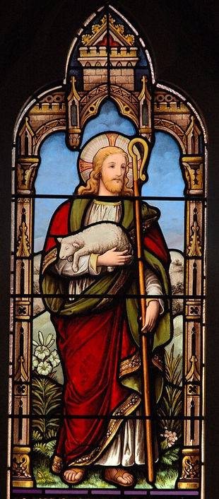 Stained glass window Jesus and the Lamb