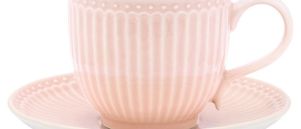 GreenGate Tasse mit Untertasse | Alice Pale Pink
