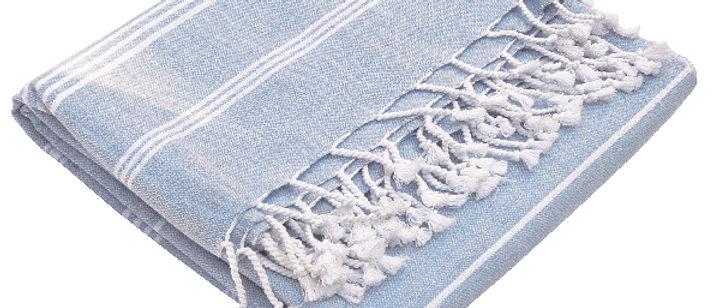 Fouta Hammam | Größe L | Weiß-Hellblau