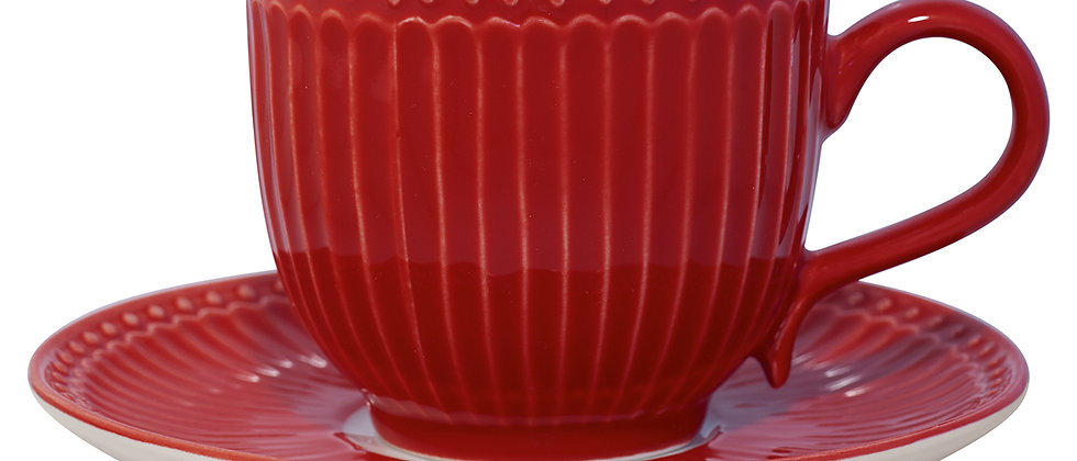 GreenGate Tasse mit Untertasse   Alice Red