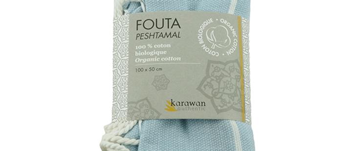 Fouta Hammam | Größe S | Weiß-Hellblau