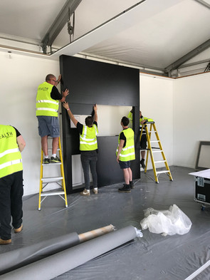 Build of giant screen at Goodwood