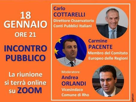 NEXT GENERATION EU: incontro con Carlo Cottarelli e Andrea Orlandi 18 gennaio ore 21