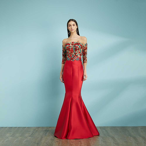 Vestido longo sereia zebeline