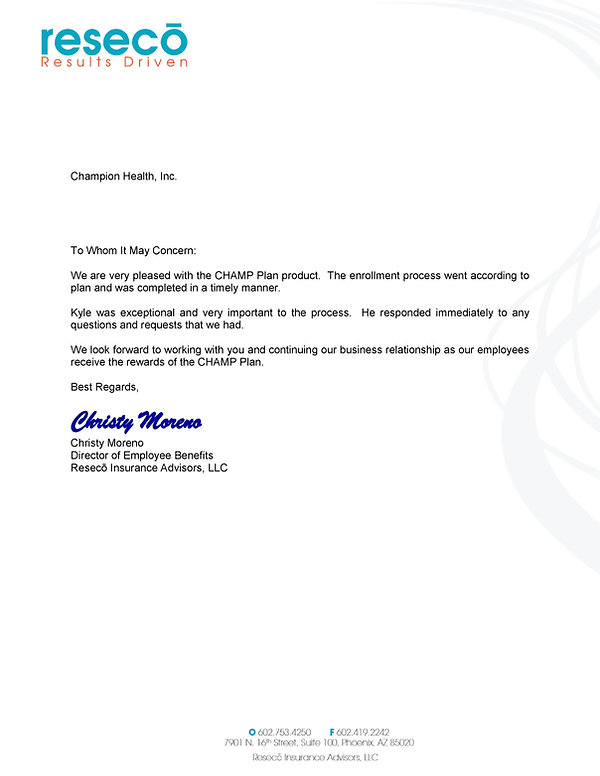 Letter of Recommendation - Reseco Adviso