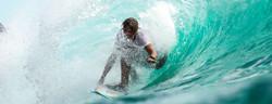 Surfing a barrel