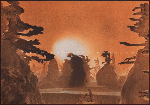 Tohoku #1 Gomme polychrome sur papier aquarelle 40x50cm