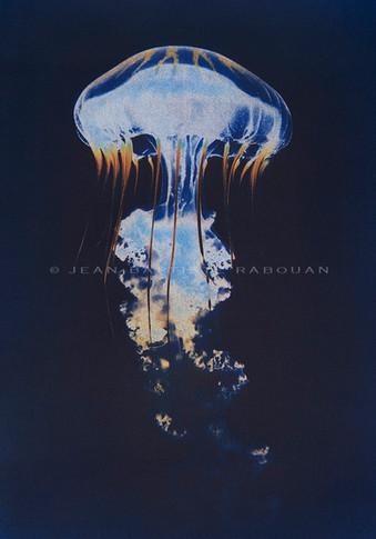 Abysse #1 Gomme trichrome sur papier aquarelle 40x50cm